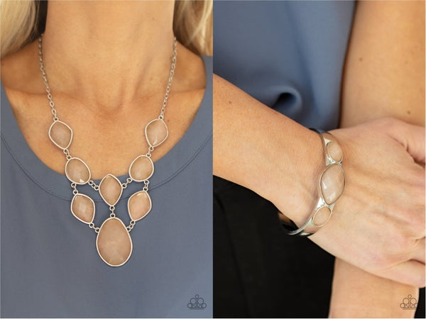 Opulently Oracle & Next Stop  Olympus Necklace, Earring & Cuff Bracelet Set