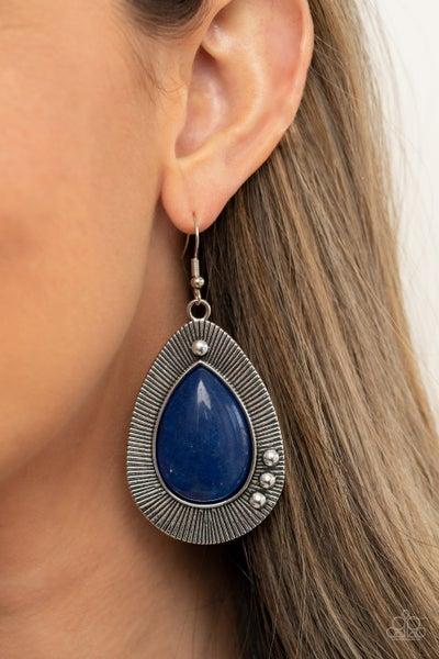 Western Fantasy - Silver with large Blue Teardrop stone Earrings