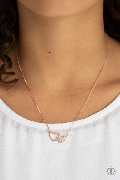 Charming Couple - Rose Gold with Double Hearts, White Rhinestones Necklace & Earrings