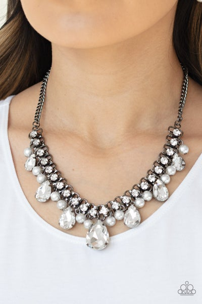 Knockout Queen -Gunmetal with White Rhinestones Necklace & Earrings