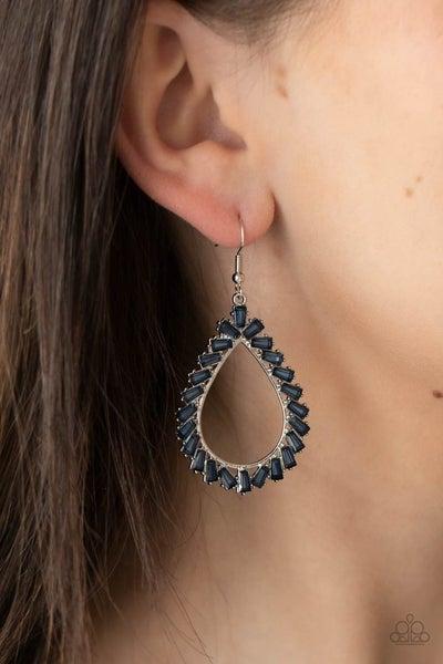 Stay Sharp - Blue Rhinestones on a Silver Teardrop Frame Earrings