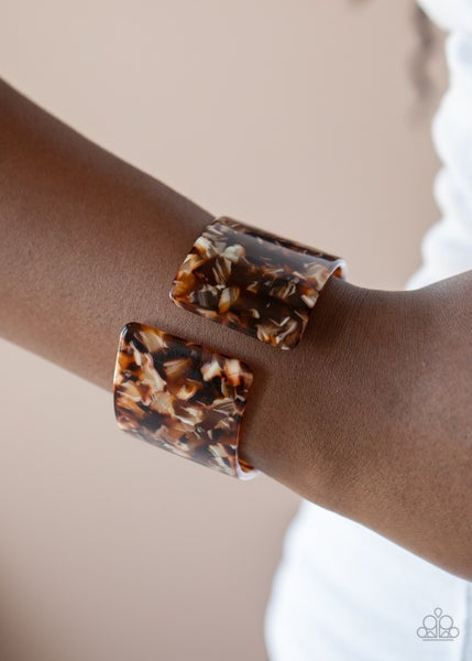 Haute Hustle - Brown Tortoise Shell Acrylic Cuff Bracelet