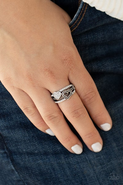 You Make My Heart BLING - Silver Hearts with White Rhinestones Ring