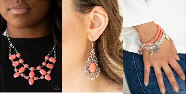 Goddess Glow, CAMEO and Juliet & Ocean Breeze - Silver with Coral Orange Beads - 3pc Set