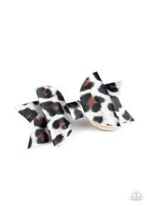 Hooked On a FELINE - Silver Cheetah Print Hair Bow