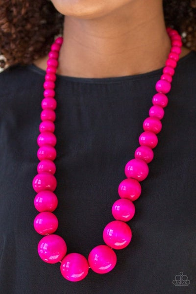 Effortlessly Everglades - Pink -Wooden Bead Necklace & Earrings