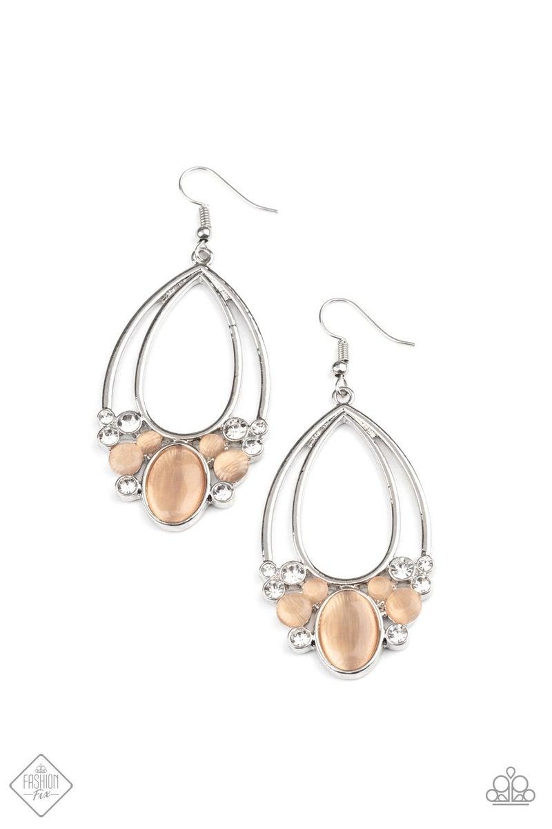 Look Into My Crystal Ball - Silver Orange Moonstone & Rhinestone Earrings