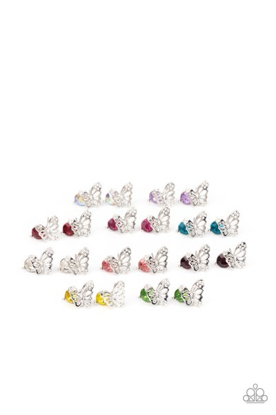 Butterfly Earrings with Assorted color Rhinestones for Kids or the Kid at Heart