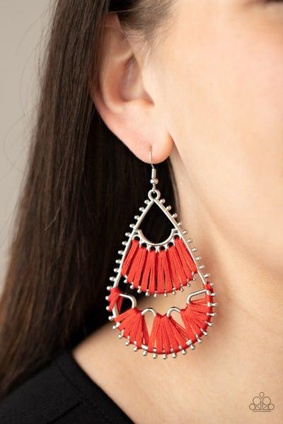 Samba Scene - Red Threaded Silver teardrop Earrings