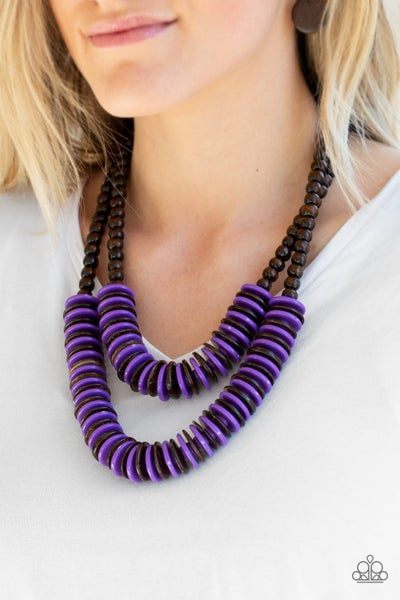 Dominican Disco - Two rows of Brown & Purple Wooden Discs Necklace & Earrings