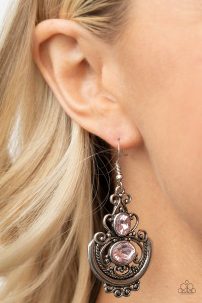 Unlimited Vacation - Silver Filigree with Pink Rhinestone Earrings