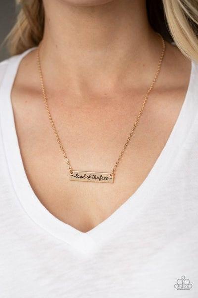 Land Of The Free – Gold Bar Frame Stamped Necklace & Earrings