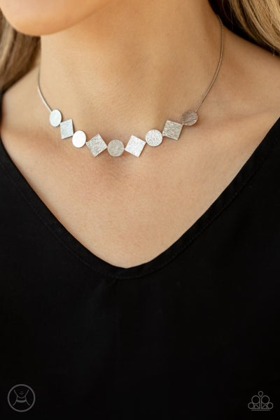 Dont Get Bent Out Of Shape - Silver with circle & square pendants Choker Necklace & Earrings