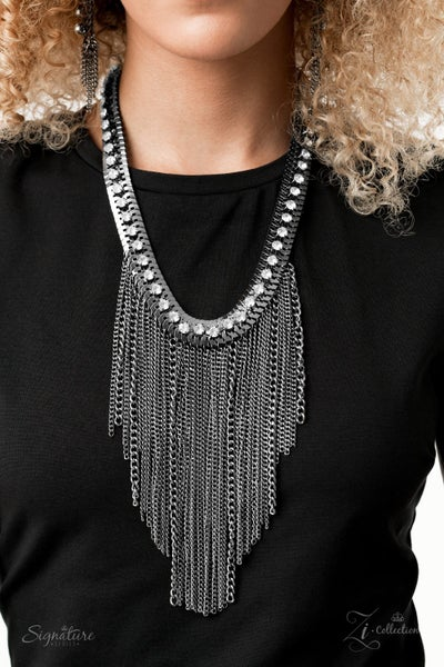 Pre-Order The Alex - Gunmetal Curtain of Chains fall from White Rhinestones Necklace - 2020 Zi Collection