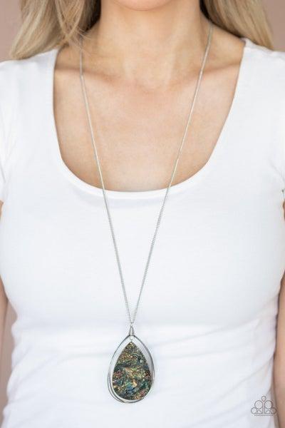 Retrograde Radiance - Iridescent Acrylic Teardrop Necklace
