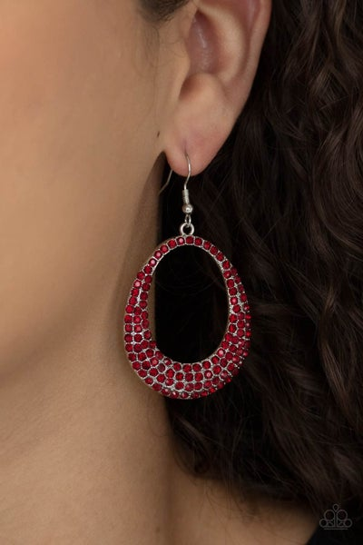 Life GLOWS On - Silver Oval Hoop encrusted with Red Rhinestones Earrings