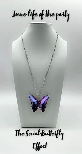 The Social Butterfly Effect - Silver with a large Purple Rhinestone Butterfly pendant Necklace and Earrings