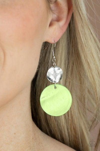 Pre-Order Opulently Oasis - Green shell-like disc & Silver disc Earrings