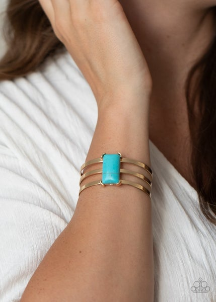 Rural Recreation - Gold with rectangular Turquoise stone Cuff Bracelet