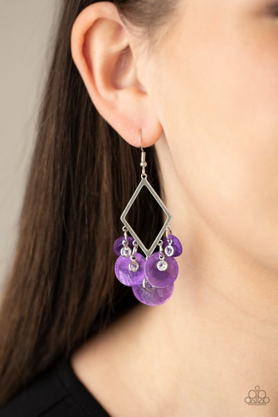 Pomp And Circumstance - Silver with Purple shells & Rhinestones Earrings