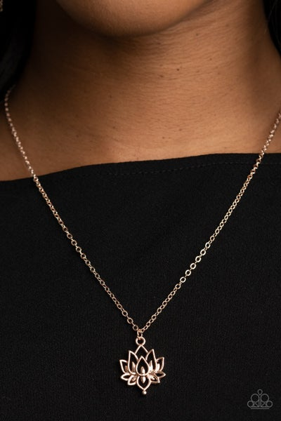Lotus Retreat - Rose Gold  with Lotus pendant Necklace & Earrings