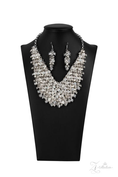 Pre-Sale Sociable - Silver with Glassy White Beads & Rhinestones - Zi Collection Necklace & Earring Set