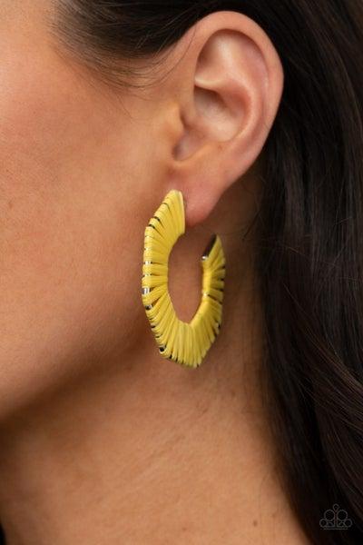 Pre-Order Fabulously Fiesta - Yellow wicker-like hexagonal Hoop Earrings