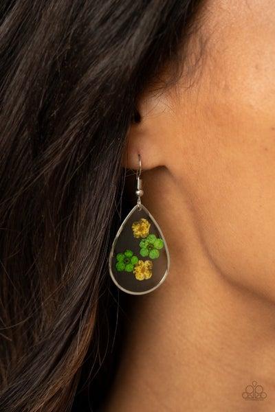 Perennial Prairie - Yellow & Green Flowers encased in teardrop pendant Earrings