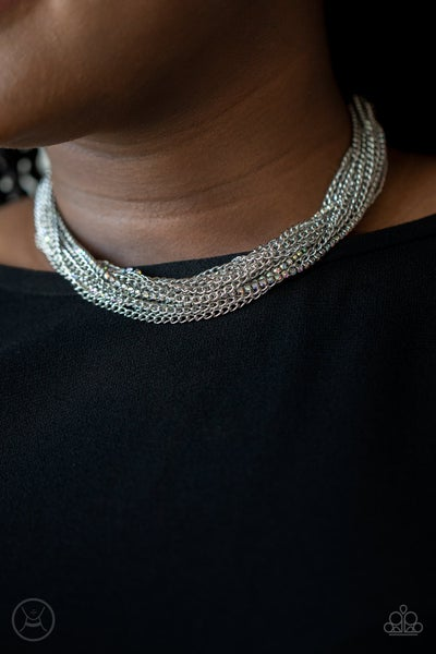 Pre-Sale - Catch You LAYER! - Silver with Multi Iridescent Rhinestones Choker Necklace & Earrings