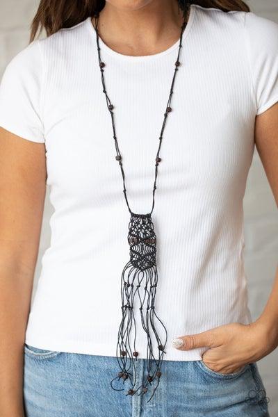 Macrame Majesty - Black Macramé Necklace & Earrings