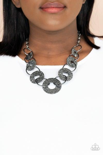Industrial Envy - Gunmetal looped rings Necklace & Earrings