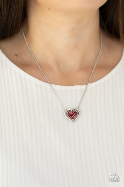 Pre-Sale - Game, Set, MATCHMAKER - Silver with a Heart filed with Red Rhinestones Necklace & Earrings