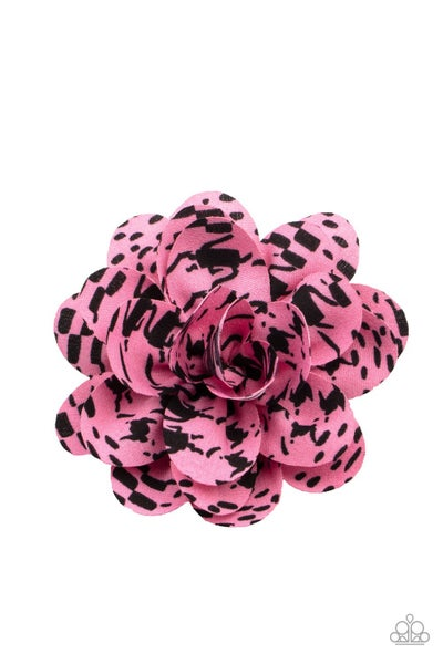 Patterned Paradise - Pink with Black blots Hair Bow Clip