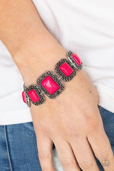 Retro Rodeo - Pink rectangle beads pressed into silver floral filigree framed Bracelet
