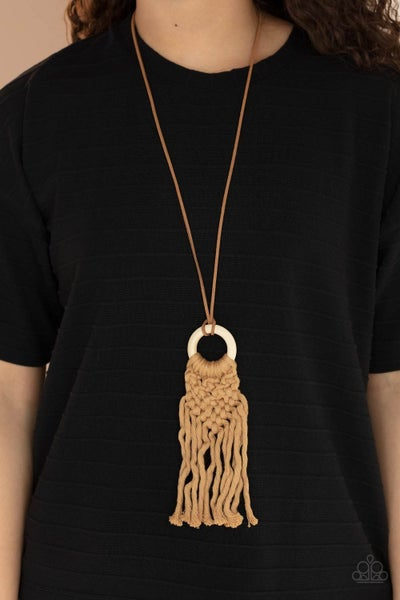 Crafty Couture - Brown Macrame Fringe on Wooden circle Necklace & Earrings