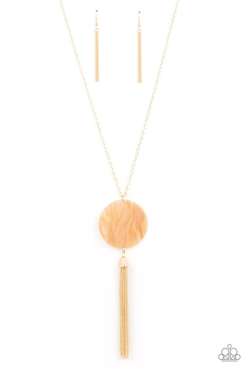 Up FAUX Grabs - Gold with Orange Acrylic Disc & Gold Tassels Necklace & Earrings