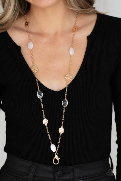 Glossy Glamorous - White Opaque, Glassy & Gold discs Lanyard Necklace & Earrings