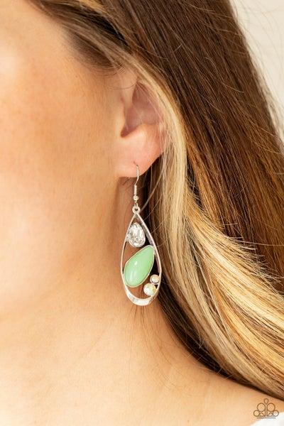 Harmonious Harbors - Silver with Green Teardop Moonstone Earrings