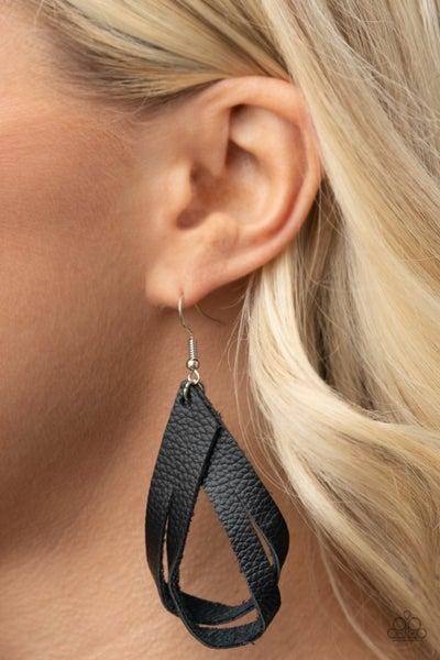 Pre-Order Thats A STRAP - Black Leather Hoop Earrings