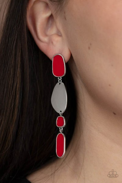 Deco By Design - Silver & Red asymmetrical shapes Earrings