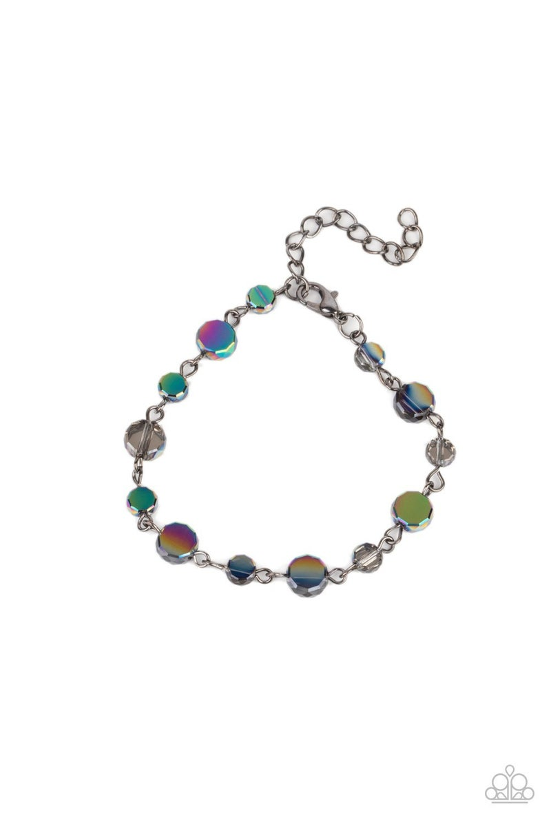 Pre-Order Cosmic Charisma & Colorfully Cosmic -  Gunmetal with Multi - Oil Spill Iridescence Necklace, Earrings & Bracelet Set