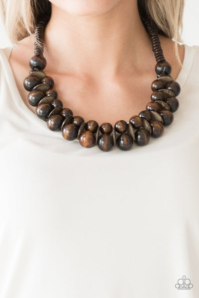Caribbean Cover Girl - Two Rows of Brown Wooden Bead Necklace & Earrings