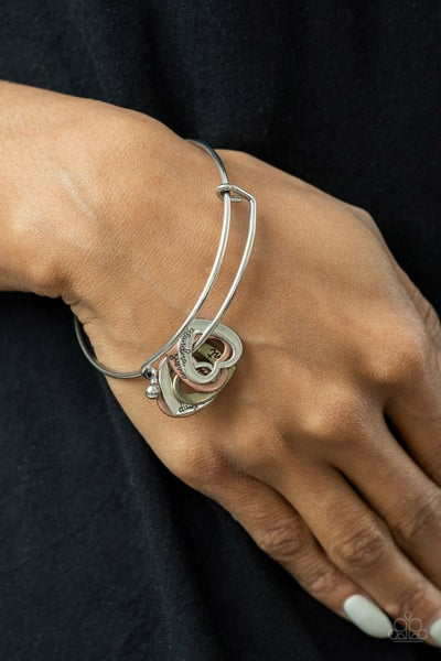 """A Charmed Society - Multi-Silver, Copper & Brass Hear Charms stamped """"Grandma, aunt, daughter, mom"""" Bracelet"""