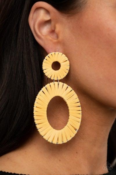 Pre-Sale Foxy Flamenco - Yellow Wicker - wrapped hoops Earrings