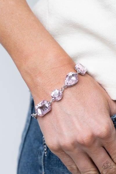 Cosmic Treasure Chest - Pink oversized Rhinestines Bracelet
