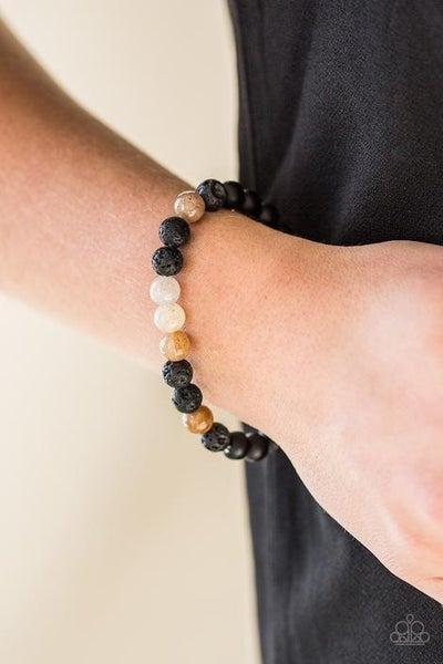 Tone Down Urban - Multi-Color Brown with Black Lava Bracelet