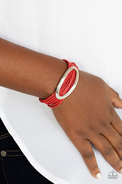 Corded Couture - Red cording with a Silver Oval center Magnetic Bracelet