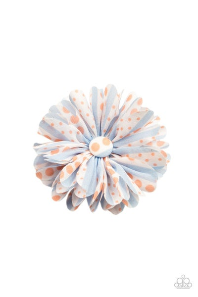 Pre-Order Got A Good Thing GROWING - Blue & Coral Polka Dotted Hair Bow Clip