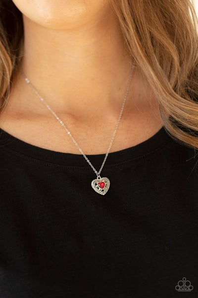 Treasures of the Heart - Silver Locket inspired Heart with Red Rhinestone Necklace & Earrings
