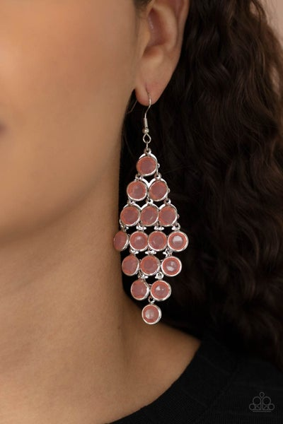 With All DEW Respect - Silver with Orange Moonstone chandelier Earrings